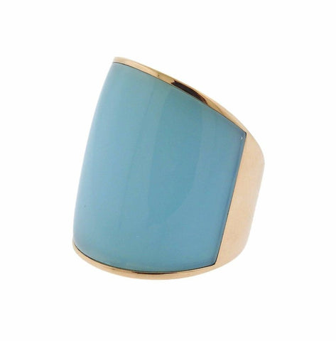 image of Vhernier Camuration Turquoise Chalcedony Gold Ring