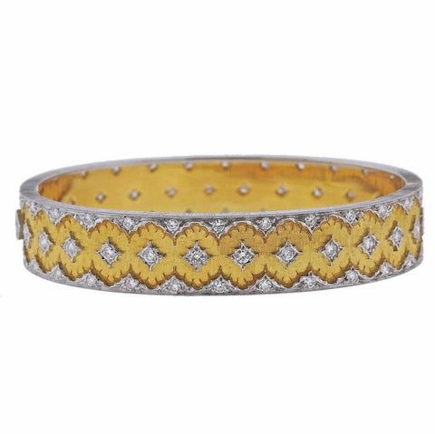 image of Buccellati Diamond Gold Bangle Bracelet