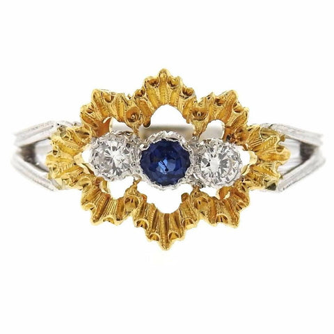 Buccellati Sapphire Diamond Two Color Gold Ring