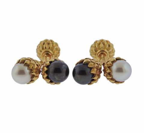 image of Tiffany & Co. Schlumberger Pearl Gold Acorn Cufflinks