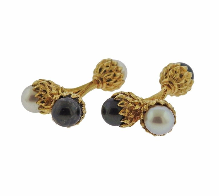 thumbnail image of Tiffany & Co. Schlumberger Pearl Gold Acorn Cufflinks