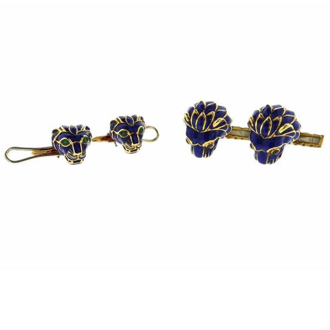 David Webb Gold Lion Enamel Cufflinks Stud Set