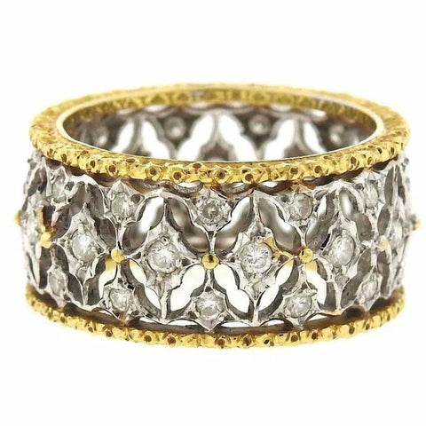 Buccellati Diamond Two Color Gold Open Work Wedding Band Ring
