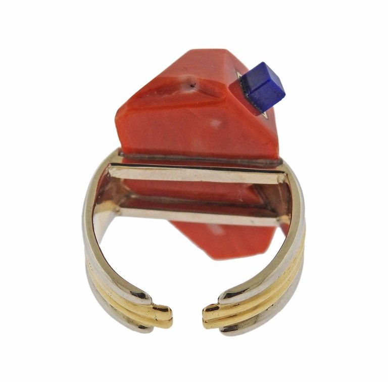 thumbnail image of Carvin French Coral Lapis Gold Ring