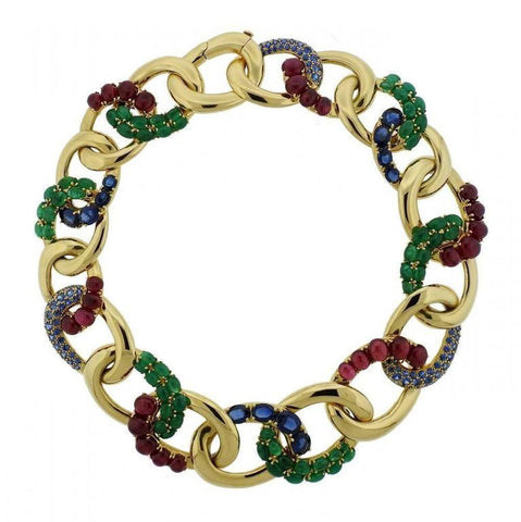 Seaman Schepps Emerald Sapphire Ruby Gold Look Necklace