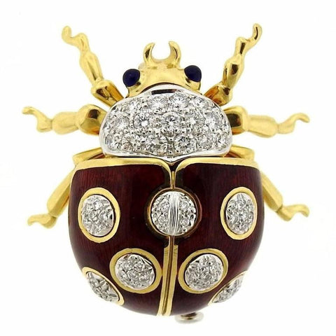 Tiffany & Co. Enamel Sapphire Diamond Gold Lady Bug Brooch Pin