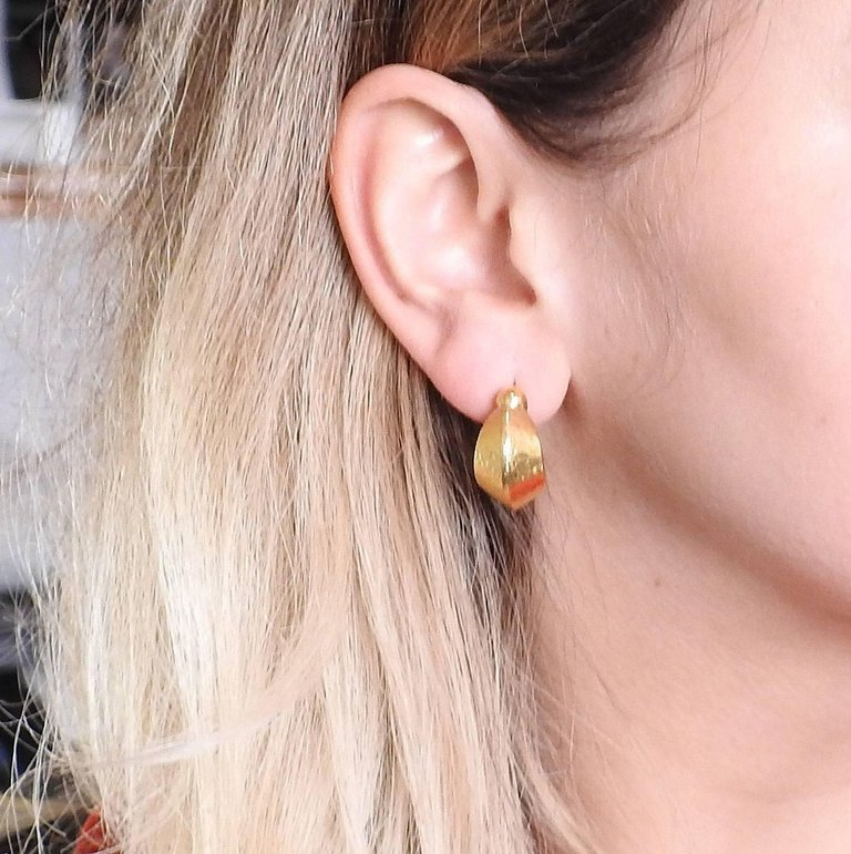 thumbnail image of Lalaounis Greece Gold Hoop Earrings