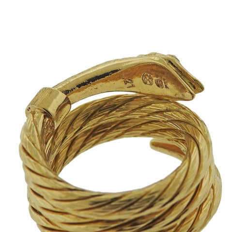 image of Lalaounis Greece Ruby Snake Wrap Gold Ring
