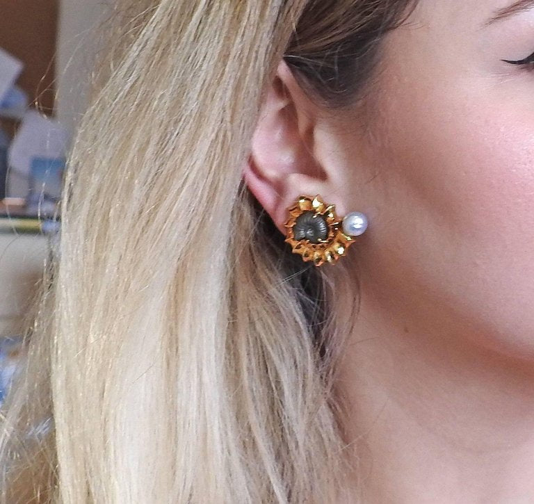 thumbnail image of Elizabeth Gage Pearl Fossil Gold Earrings