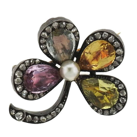 Antique Pearl Multi Color Sapphire Diamond Silver Gold Flower Brooch Pin