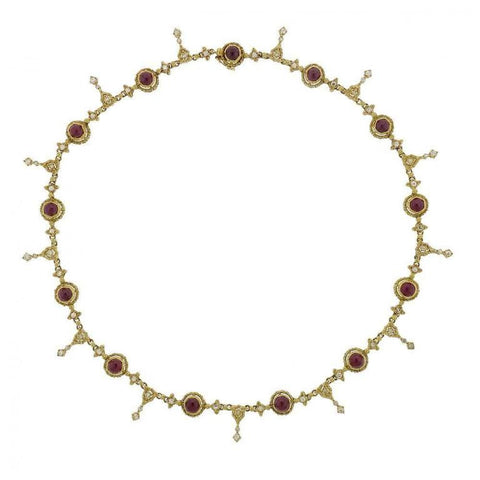 Buccellati Ruby Diamond Gold Necklace