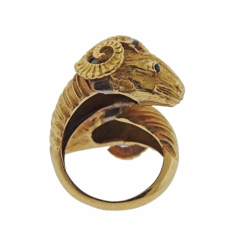 thumbnail image of Zolotas Greece Sapphire Gold Ram's Head Bypass Ring
