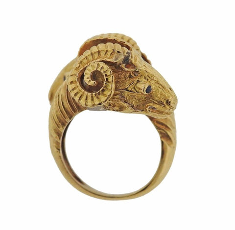 image of Zolotas Greece Sapphire Gold Ram's Head Bypass Ring