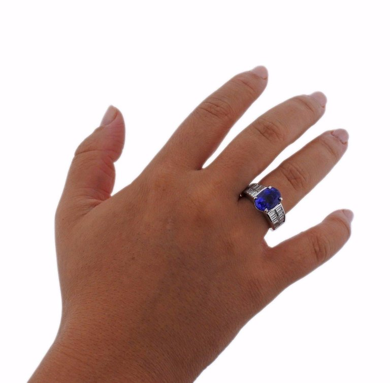 thumbnail image of Diamond 4.75 Carat Tanzanite Gold Ring