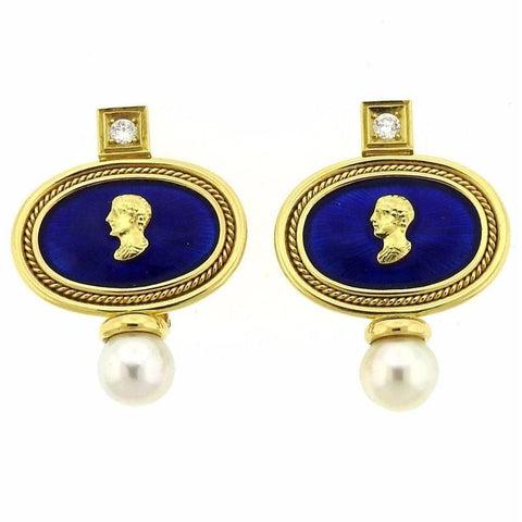 Elizabeth Gage Enamel Pearl Diamond Gold Earrings