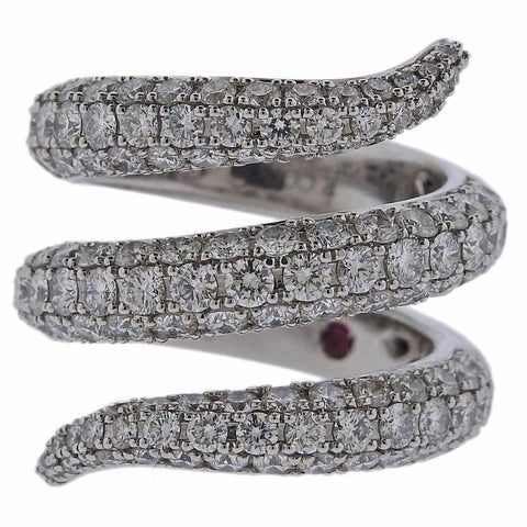 image of Roberto Coin Diamond Gold Cobra Snake Wrap Ring