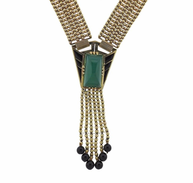 thumbnail image of Iconic Art Deco Chrysoprase Onyx Gold Necklace