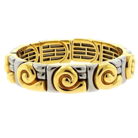 Bulgari Two Color Gold Swirl Cuff Bracelet