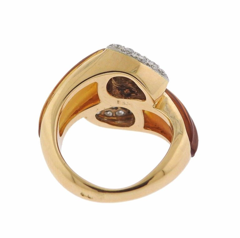 thumbnail image of Carved Citrine Diamond Gold Ring