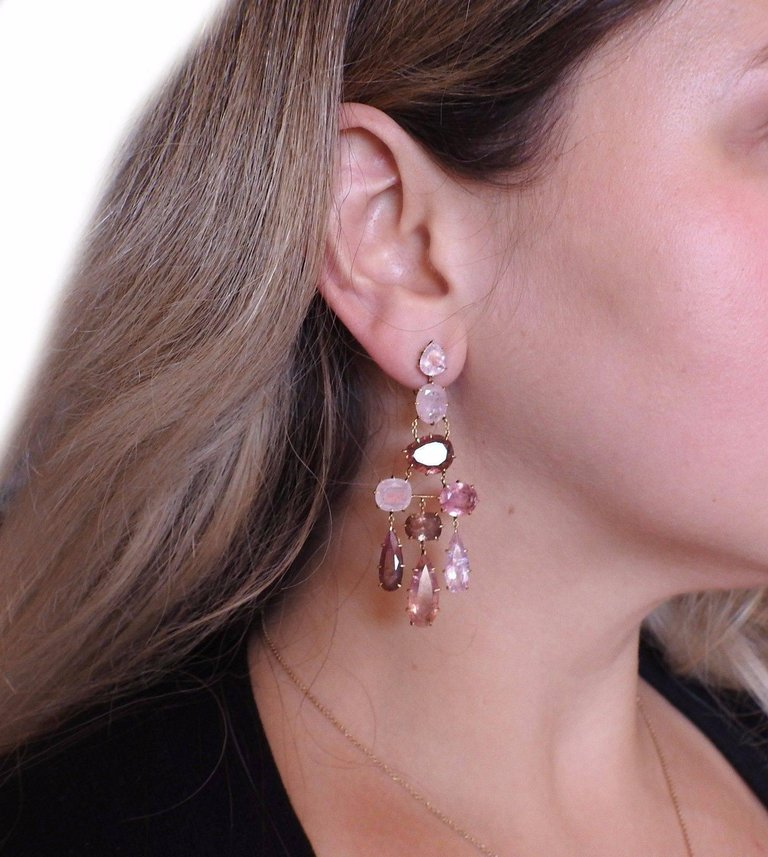 thumbnail image of H. Stern Spring Pink Tourmaline Chandelier Gold Earrings