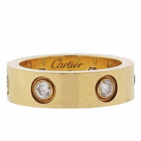 image of Cartier Love Diamond Gold Band Ring