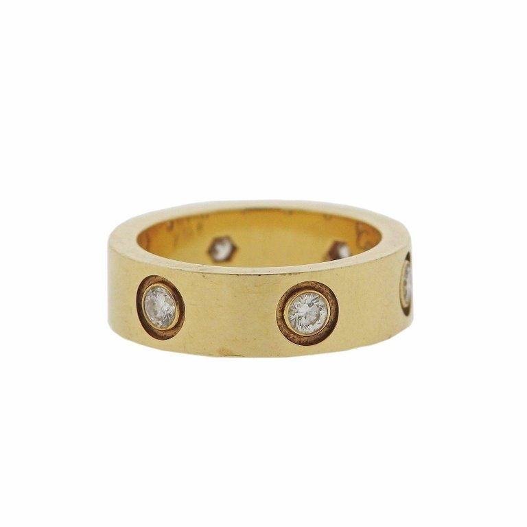 thumbnail image of Cartier Love Diamond Gold Band Ring