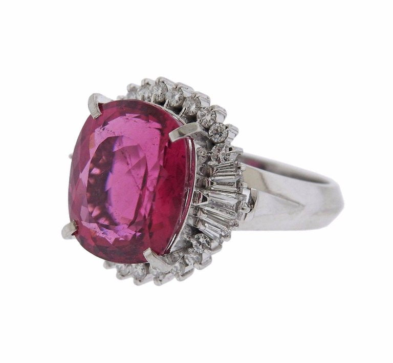 thumbnail image of 8 Carat Pink Tourmaline Diamond Platinum Ring