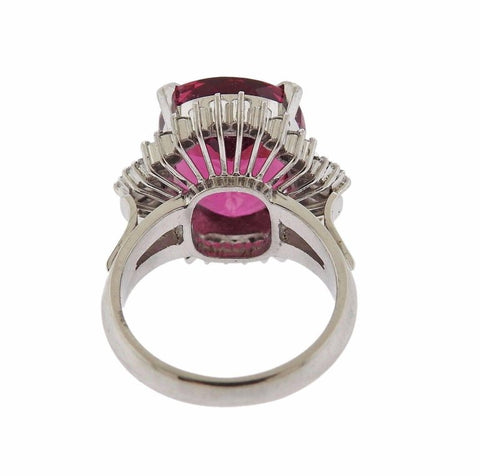 image of 8 Carat Pink Tourmaline Diamond Platinum Ring