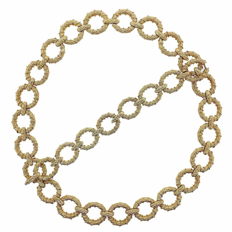thumbnail image of 1970s Oval Link Gold Necklace Bracelet Suite