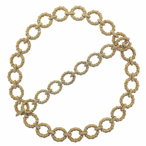 image of 1970s Oval Link Gold Necklace Bracelet Suite