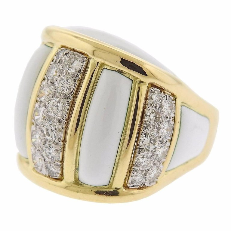 thumbnail image of David Webb Diamond Enamel Gold Platinum Ring