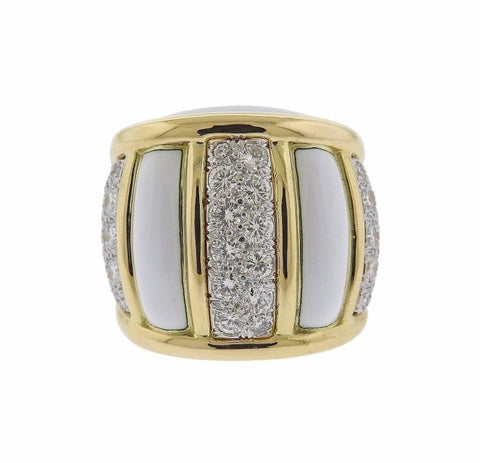 image of David Webb Diamond Enamel Gold Platinum Ring