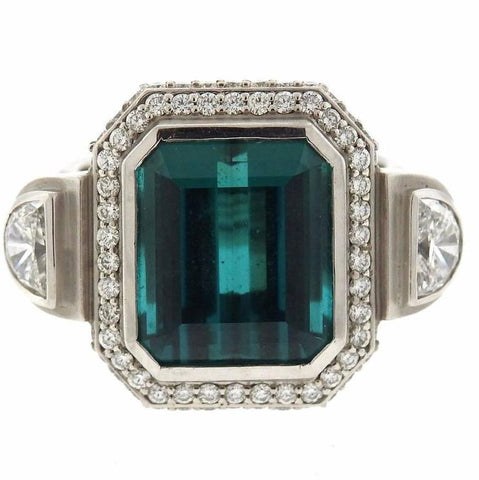Sam Lehr Gold Indicolite Tourmaline Diamond Ring