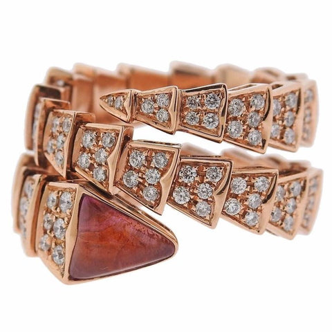 image of Bulgari Serpenti Diamond Tourmaline 18 Karat Rose Gold Ring