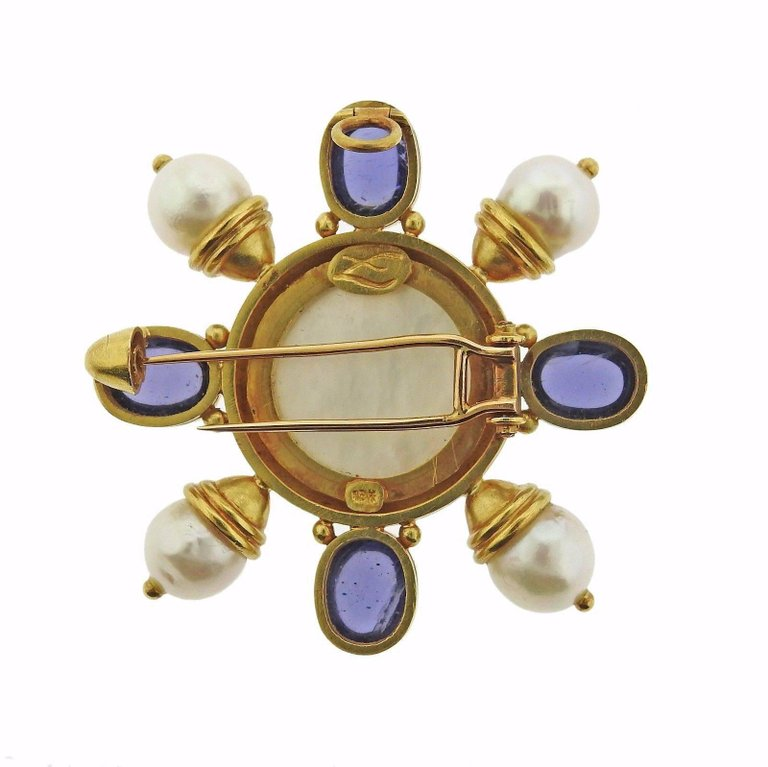 thumbnail image of Elizabeth Locke Pearl Iolite Gold Brooch