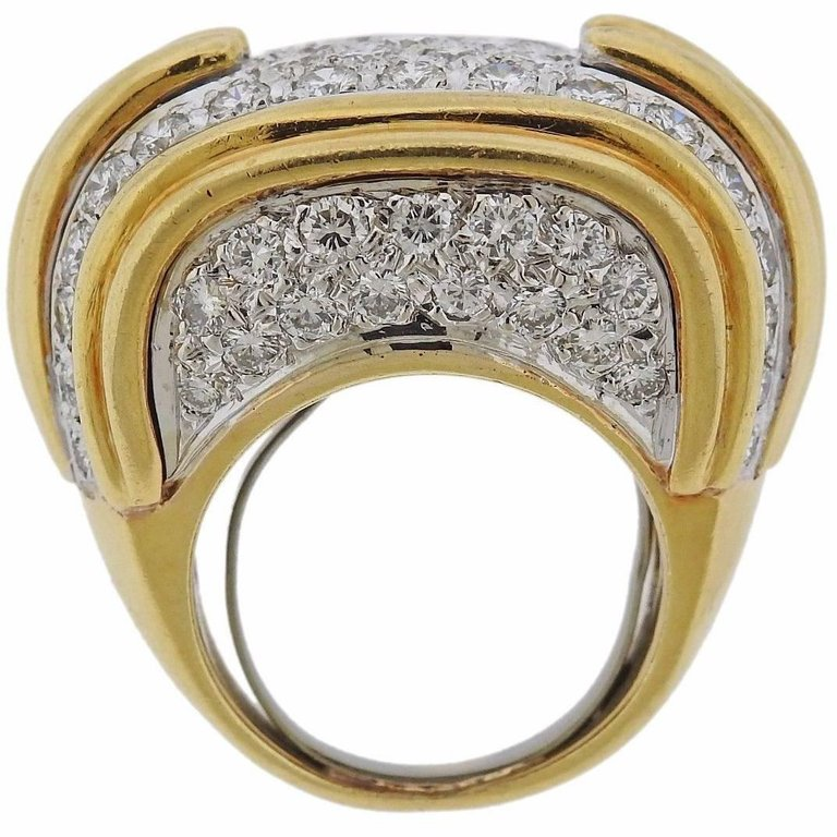 thumbnail image of Diamond Pave Gold Cocktail Ring