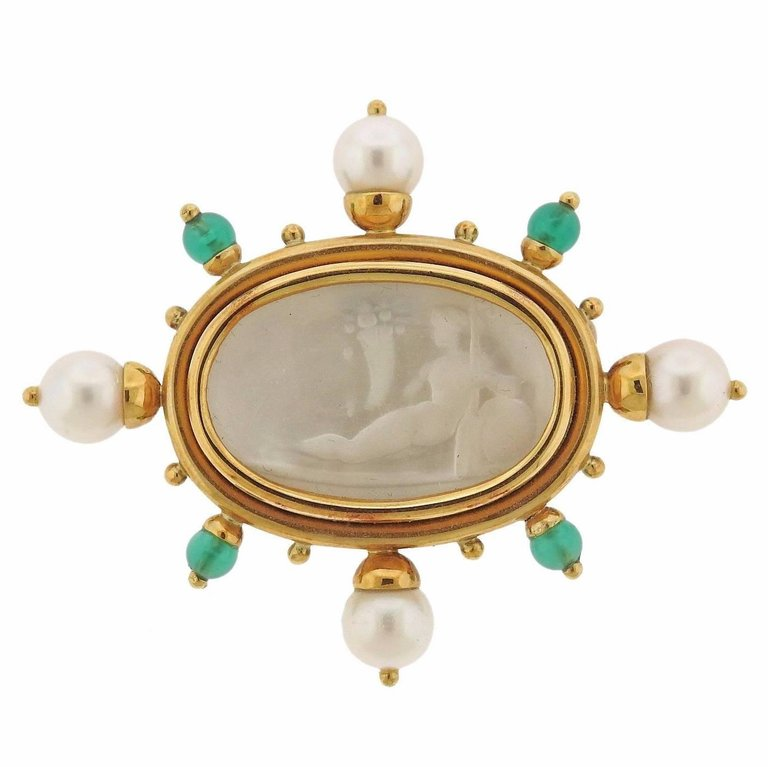 thumbnail image of Elizabeth Locke Chrysoprase Pearl Venetian Glass Intaglio Gold Brooch