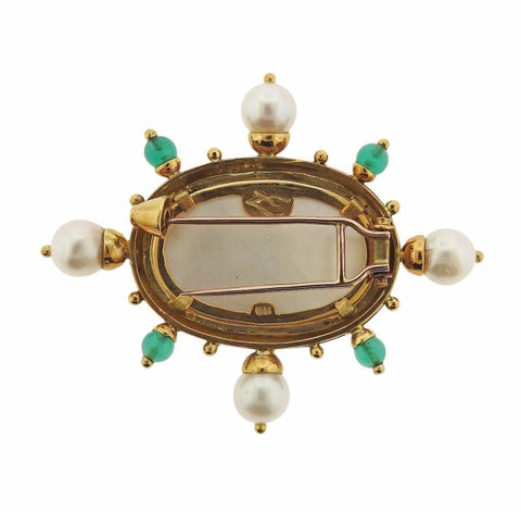 image of Elizabeth Locke Chrysoprase Pearl Venetian Glass Intaglio Gold Brooch