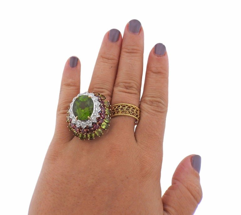 thumbnail image of 1960s Peridot Ruby Sapphire Diamond Gold Cocktail Ring