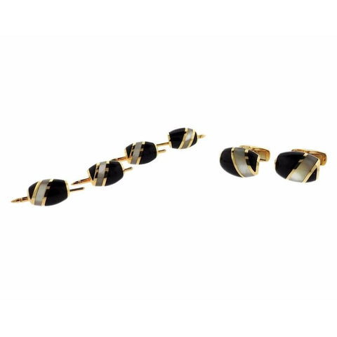 Kurt Wayne Gold Mother of Pearl Onyx Cufflinks Stud Set