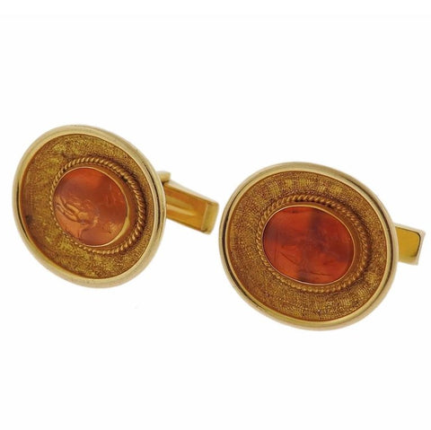 image of Ancient Hardstone Intaglio Gold Archaeological Cufflinks