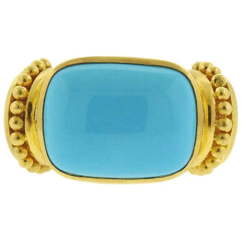 Elizabeth Locke Gold Turquoise Ring