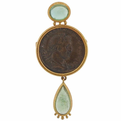 image of Elizabeth Locke Ancient Coin Beryl Gold Brooch