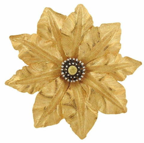 Buccellati Tri Color Gold Large Flower Motif Brooch Pin
