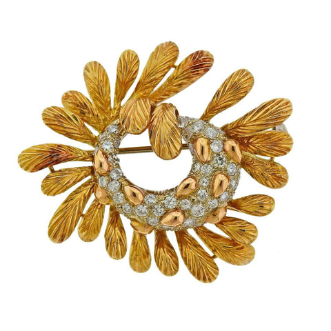 image of Mid Century Gold Diamond Brooch Pin