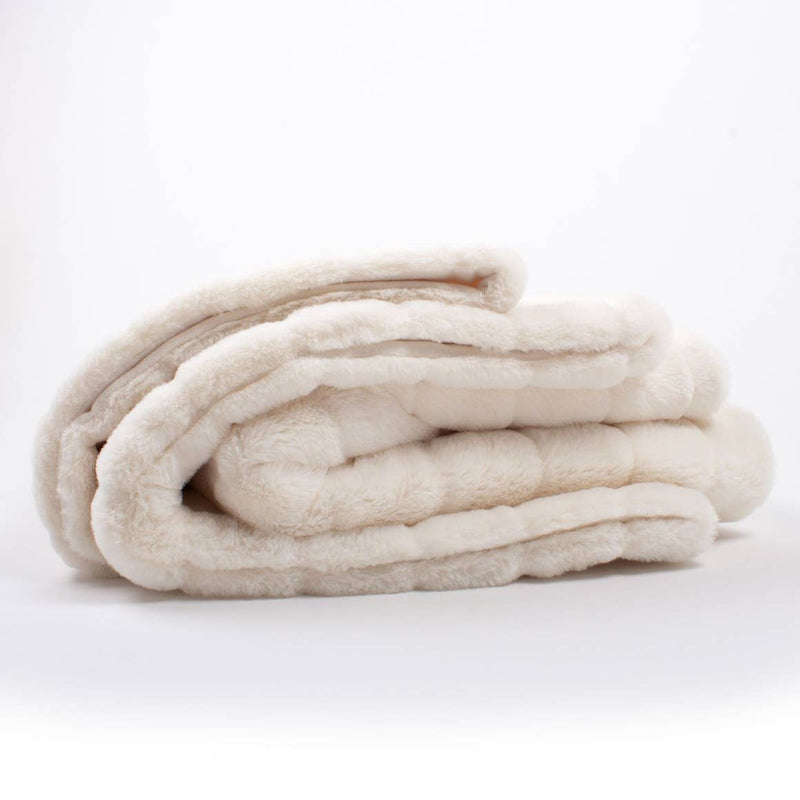 White Channel Faux Fur Blanket