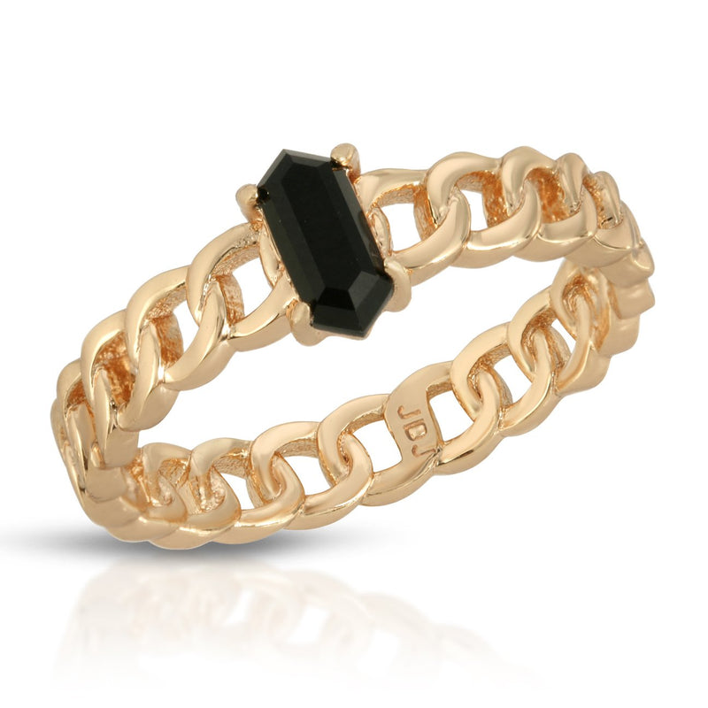 Chainlink Stone Ring - Black Onyx