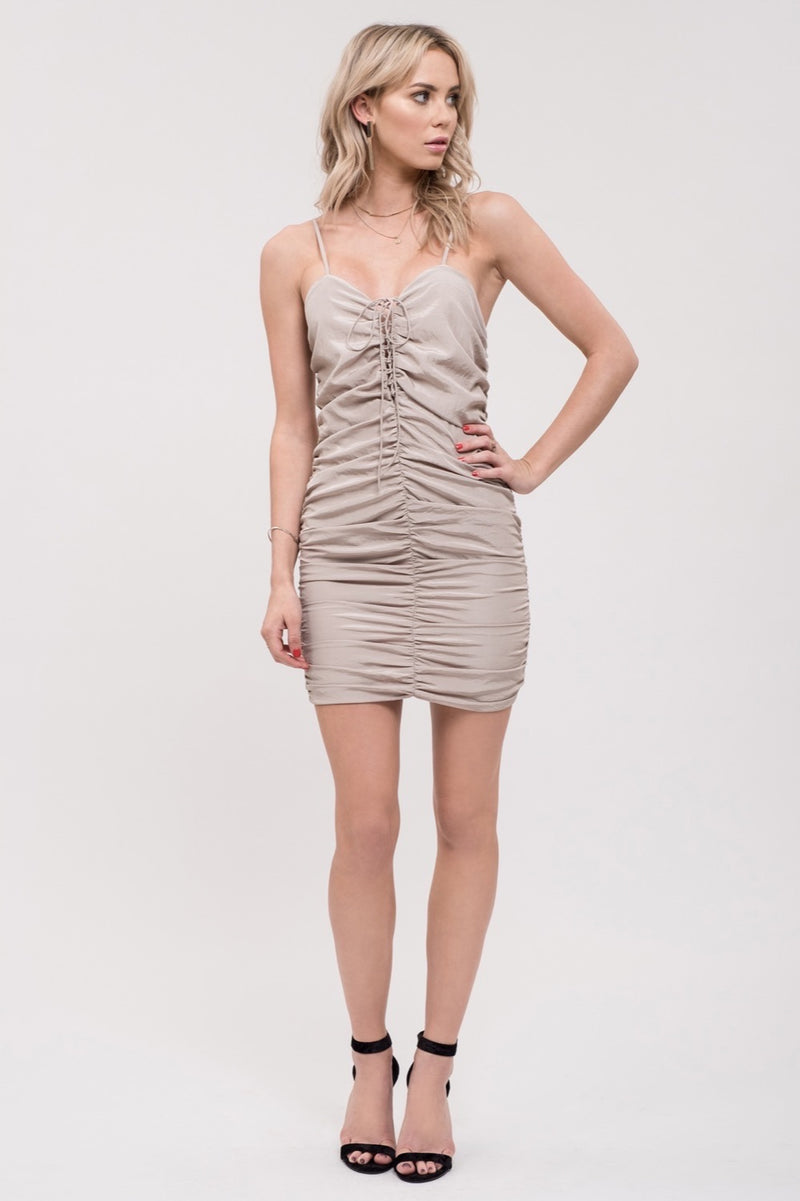 Ruched Lace Up Dress