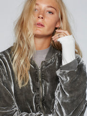 Ruched Velvet Bomber - Free People - BIRD BEE - 4
