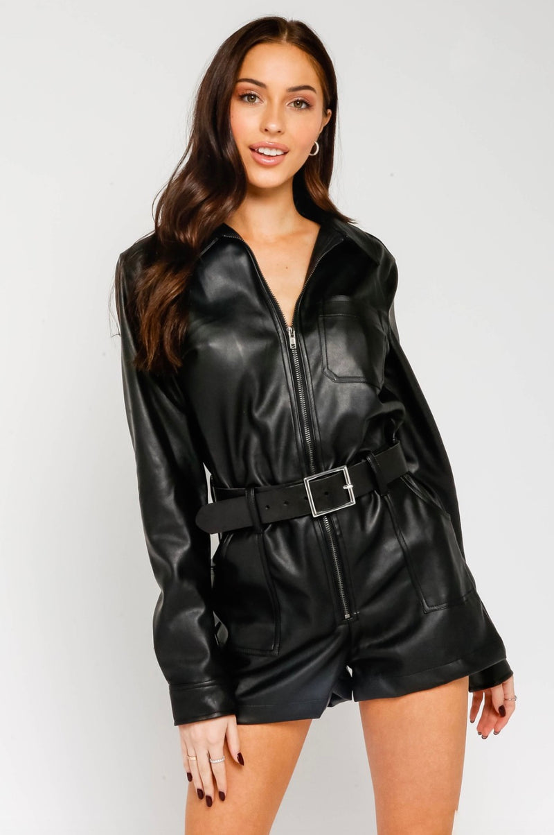 Faux Leather Utility Romper
